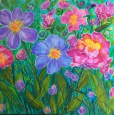 "Summer Blooms, 20"" x 20"""