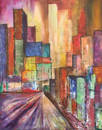 """Cityscape, 16"""" x 20"""""""