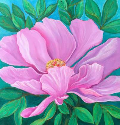 """Peony in Pink, 18"""" x 18"""""""