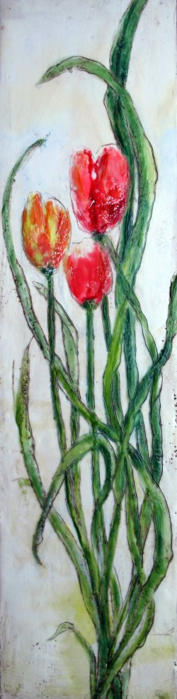 "Tulip Trio, 6"" x 24"" (SOLD)"