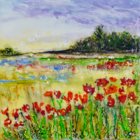 """Field of Poppies, 5"""" x 5"""""""